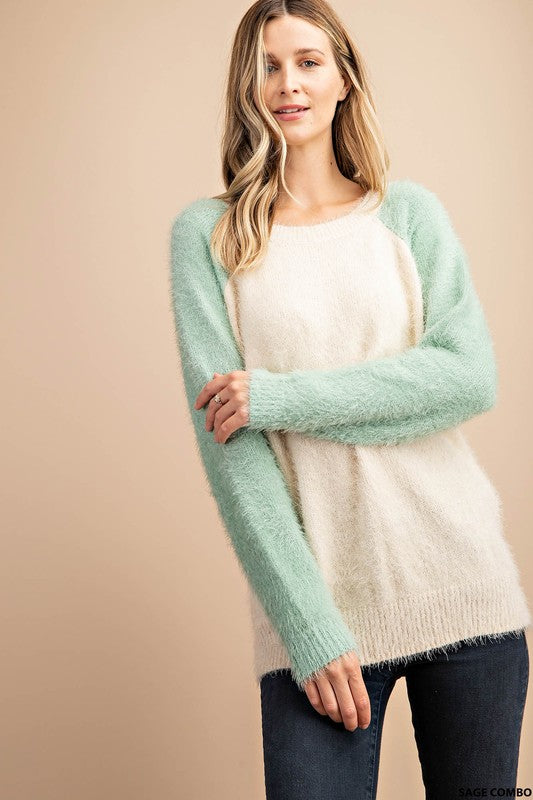 Sage and Cream Feather Fur Sweater