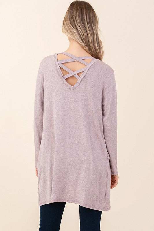 Mauve Criss Cross Open Back Cardigan