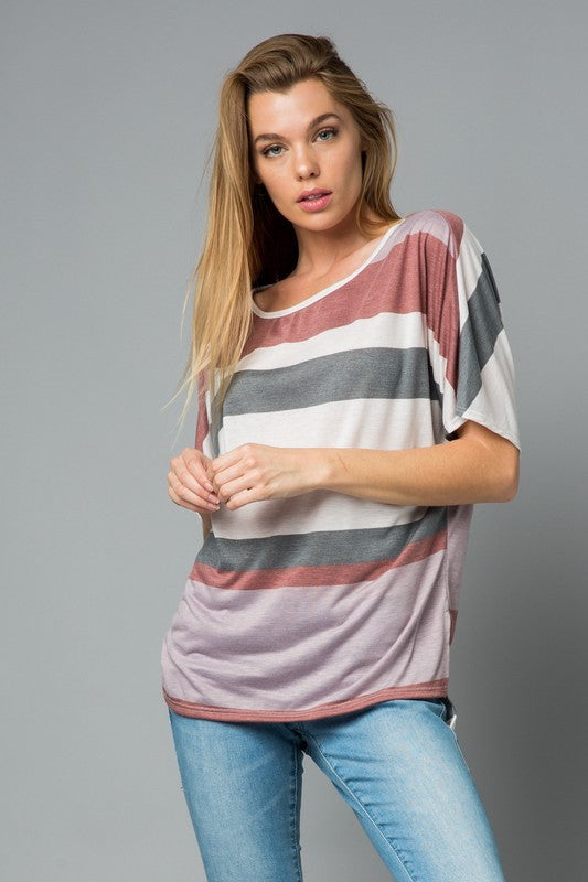 Mauve Multi Stripe High Low Tunic