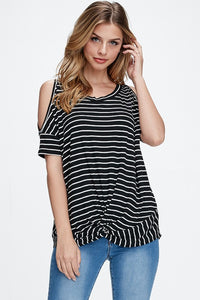 Black and White Stripe Cold Shoulder
