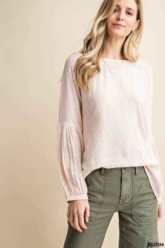 Blush Blouse with Textured Sleeve