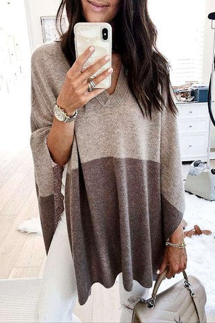 Taupe Block Poncho