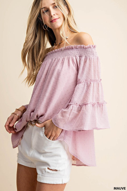 Swiss Dot Chiffon Off the Shoulder
