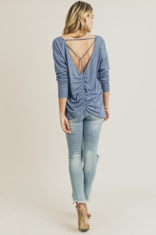 Blue-Grey Cinched Back Long Sleeve