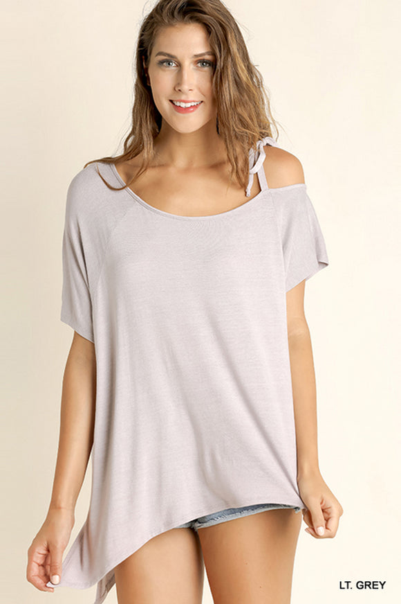 Light Grey Asymmetrical Neckline Top with Side Ties
