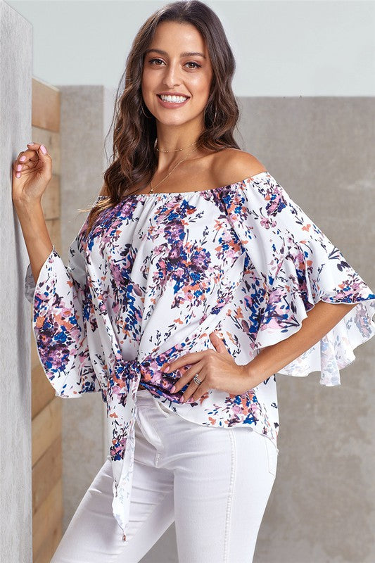 White Floral Tie Front Top