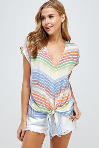 Rainbow V neck Stripe Top