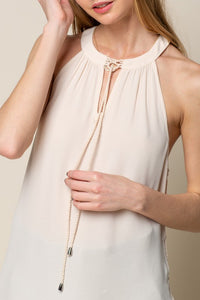 Cream Halter Tank with Side Tie Up