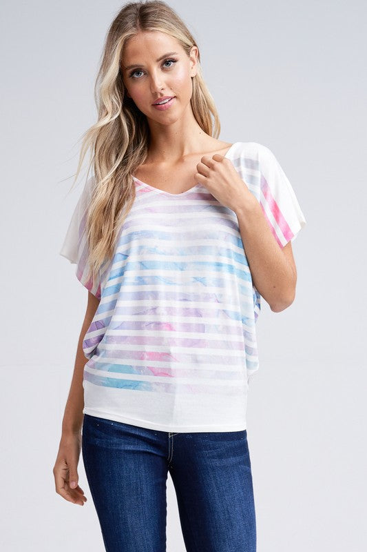 Multicolored Sublimation Print Top