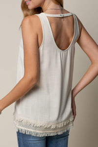 Natural Tank with Frayed Edge