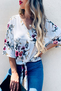 White Floral V Neck Tie Top