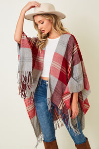 Red Plaid Shawl Wrap