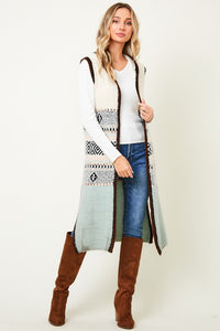 Ivory and Mint Sweater Vest Cardigan