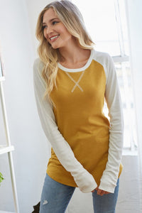 Mustard Thermal Baseball Top
