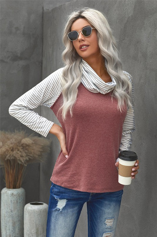 Cowl Neck Casual Long Sleeve Top