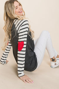 Charcoal Stripe Heart Elbow Top