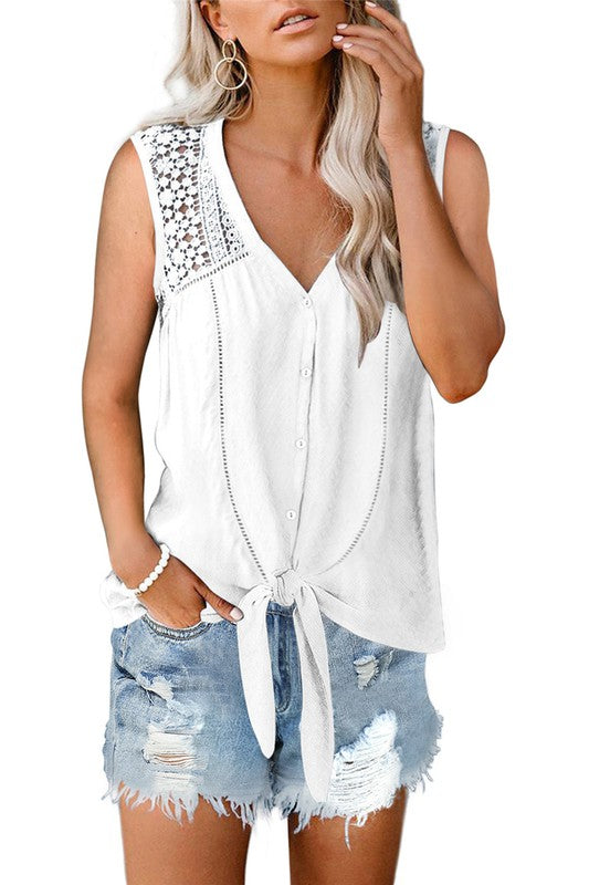 White Lace Tie Front Tank