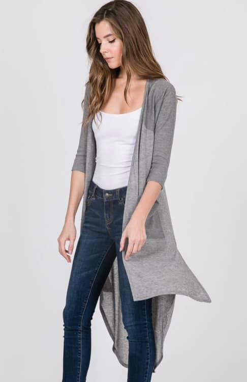 Grey Hi-low Cardigan