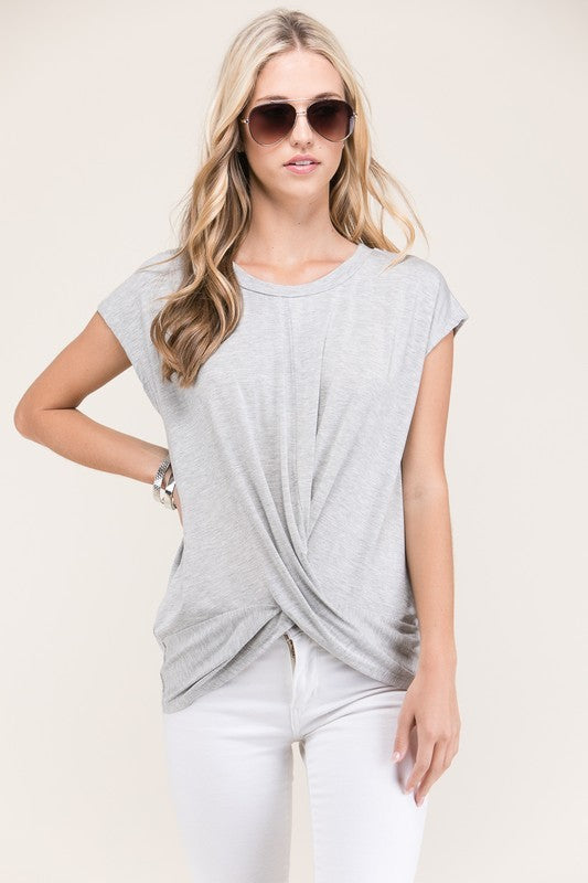 Grey Solid Twist Top