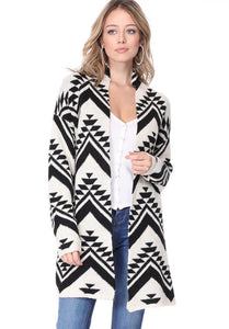 Chevron Slouchy Tunic Length Duster