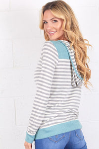 Grey and Mint Stripe Hoodie