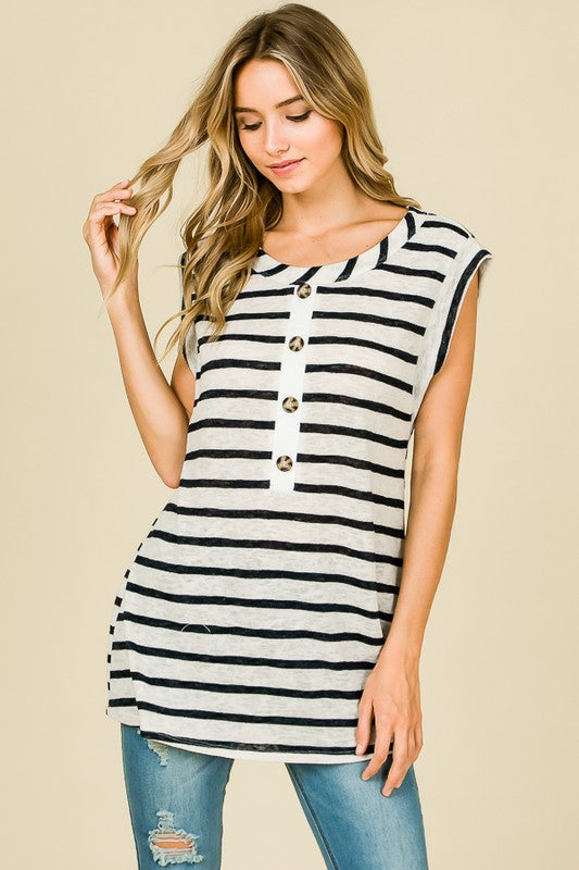Navy and White Cap Sleeve Tank