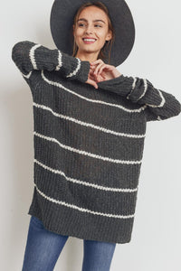 Grey Stripe Knit Tunic Sweater
