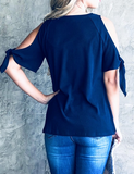 Navy Cold Shoulder with Tie Ruffle