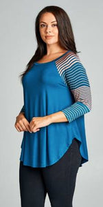 Blue Striped Sleeve Raglan