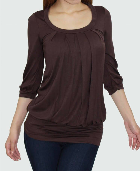 Chocolate Brown Pleated Top