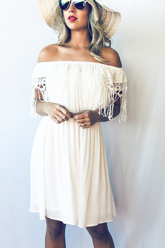 Beach Vacation Lace Trim Dress
