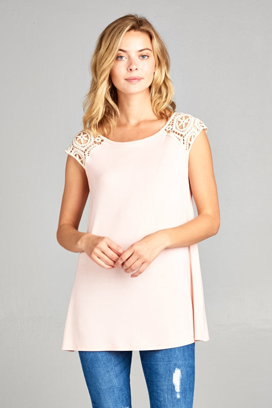 Blush Solid and Lace Patch Sleeve Tank Top