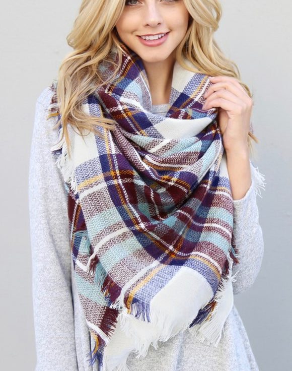 Blue and Burgundy Plaid Blanket Scarf