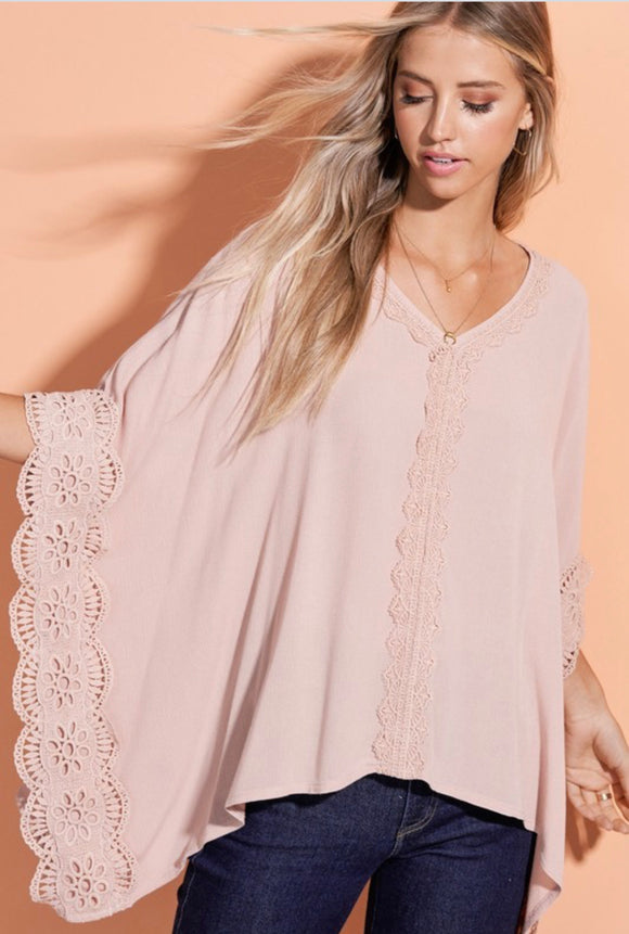 Taupe with Lace Trip Cape