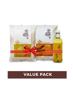 Organic Sugar 1kg+ Wheat Flour1kg + Sun Flower Oil 500ml-Combo