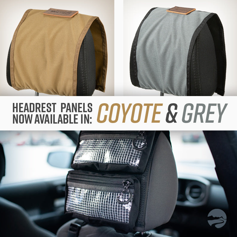 Headrest Panels: Now in Coyote and Grey