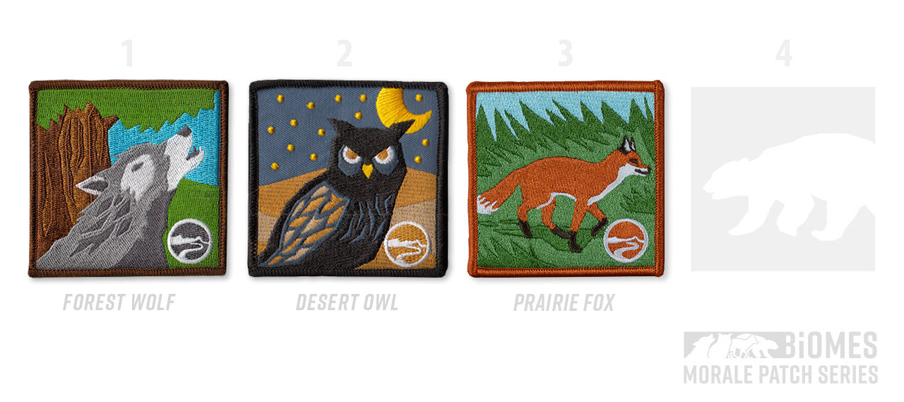 Biomes - limited edition patch series for overlanders and adventure lovers: wolf patch, owl patch, fox patch