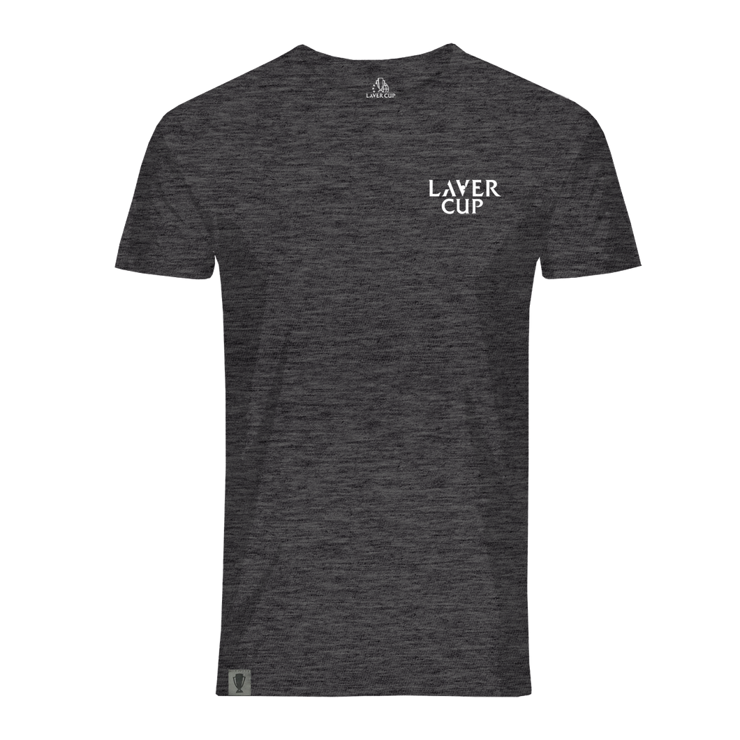 MENS GREY MARL LAVER CUP TEXT TEE