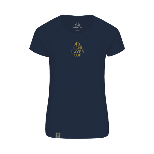 LADIES NAVY METALLIC GOLD LOGO TEE