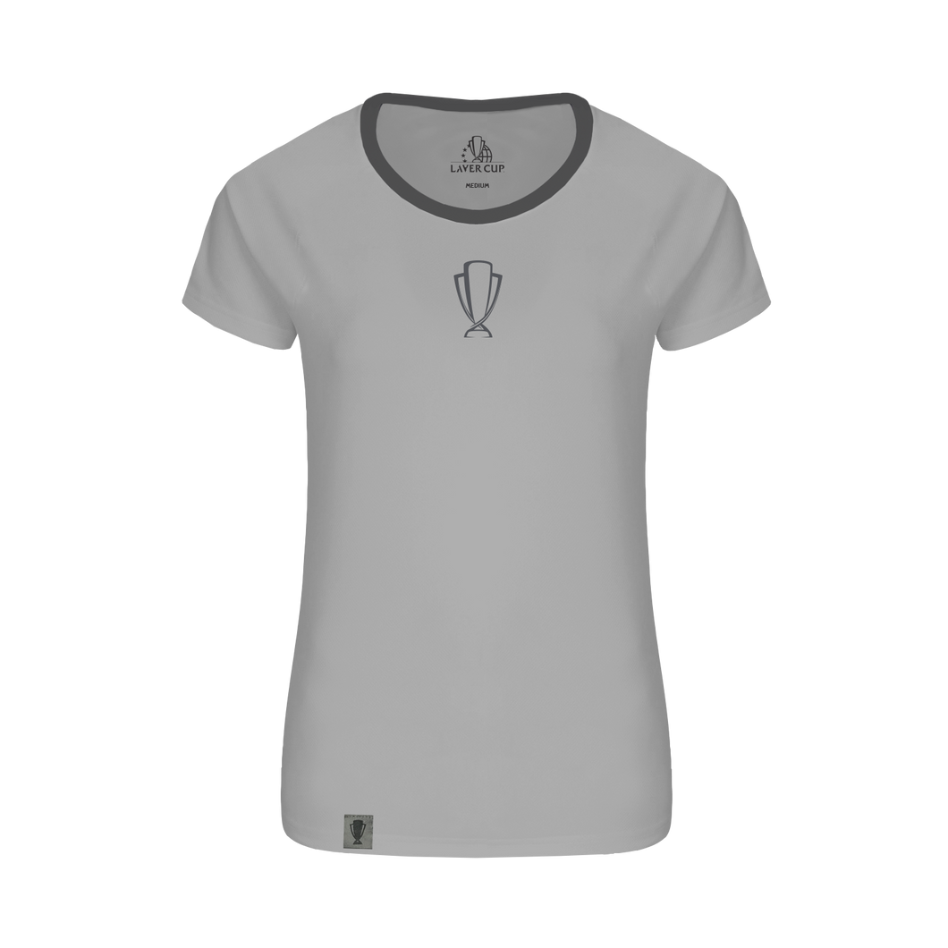 LADIES GREY TROPHY TEXT TEE