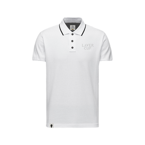 MENS WHITE LAVER CUP TEXT POLO