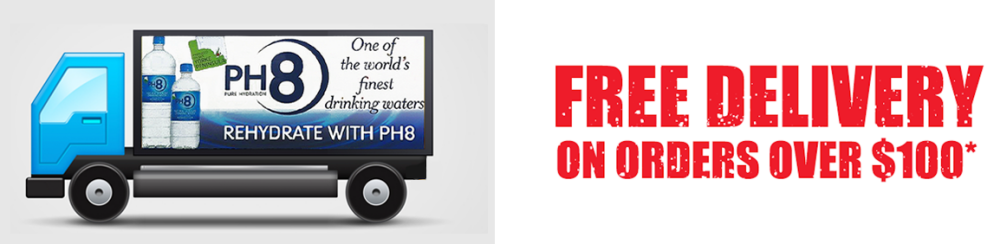 Free Australia wide delivery on PH8 Natural Alkaline Water when you order over $100 from our online store.