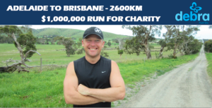 Andrew Biszczak will be running from Adelaide to Brisbane to raise funds for DEBRA Australia