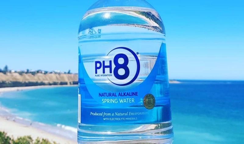 High alkaline bottled spring water from a natural environment with a pH of 8.