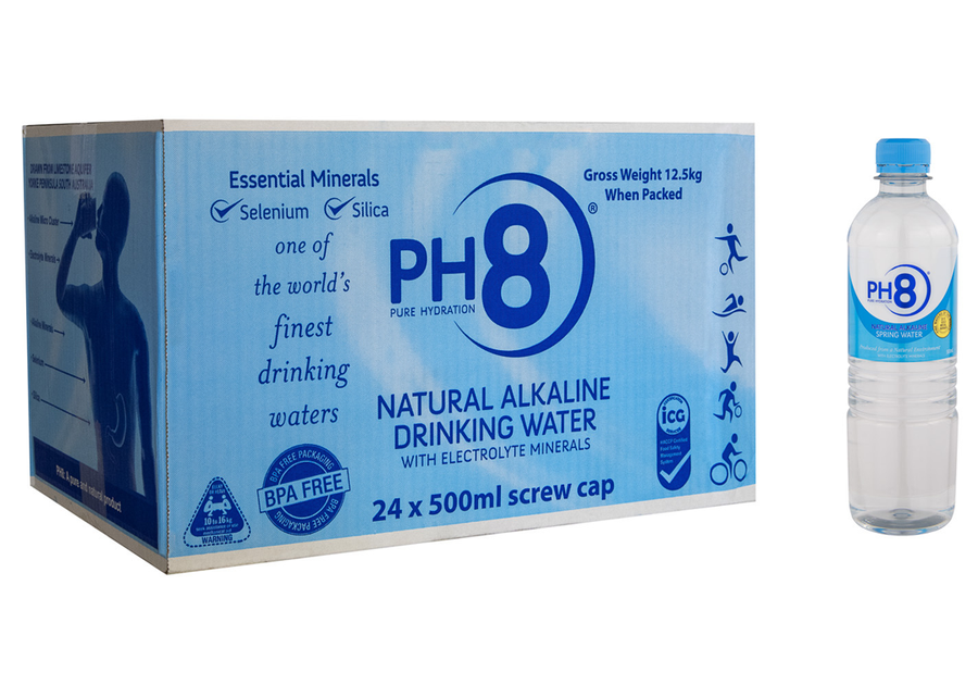 PH8 Natural Alkaline Water 500ml - Box of 24