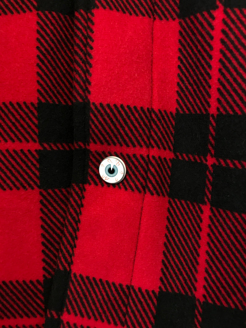 Red/Black Von Dutch Flannel Shirt with Iconic Pin
