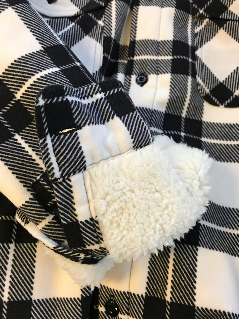 White/Black Von Dutch Sherpa Flannel Foldover Cuff