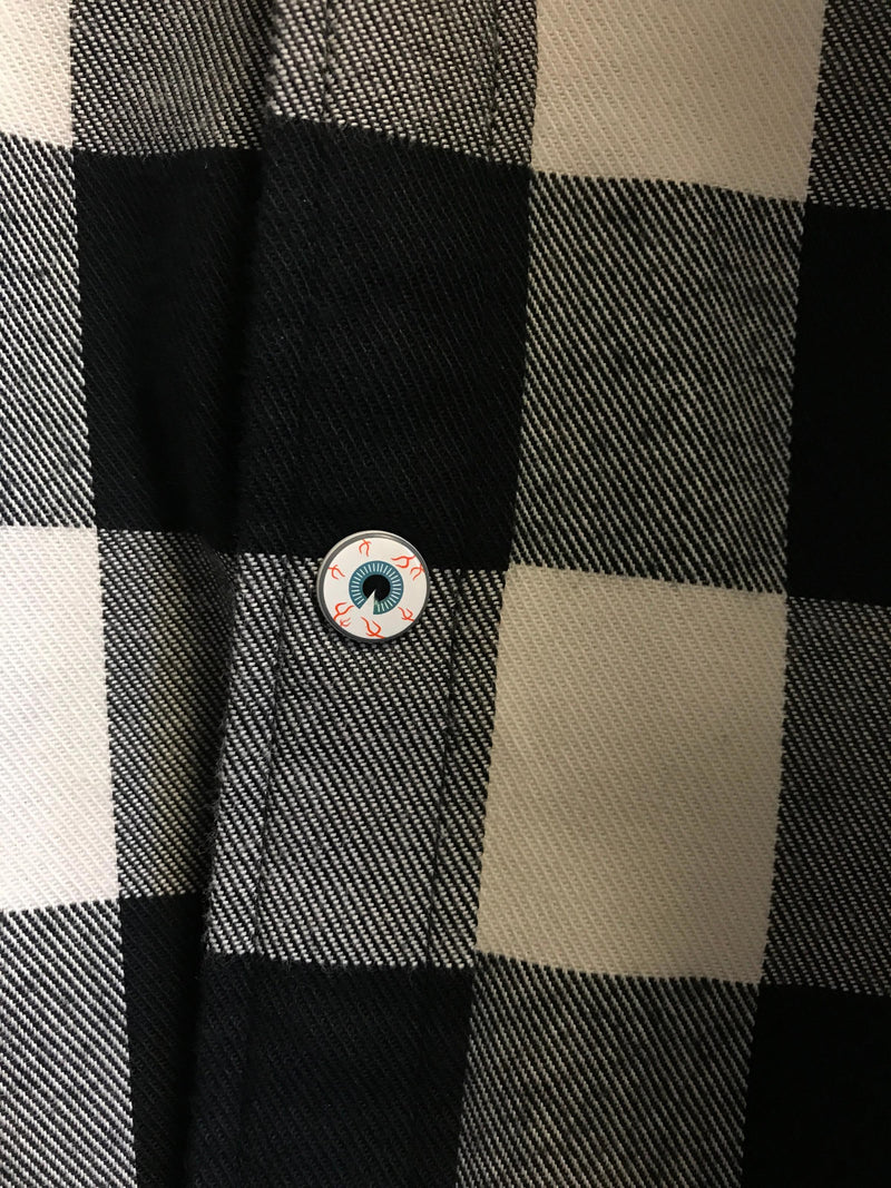 White/Black Von Dutch Flannel Shirt with Iconic Pin
