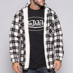 White/Black Von Dutch Sherpa Lined Flannel Front