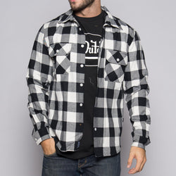 White/Black Von Dutch Flannel Shirt Front